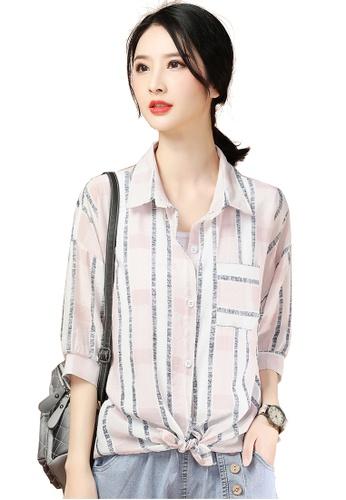 A-IN GIRLS pink Fashion Strap Striped Shirt FF8F4AABFB26B5GS_1