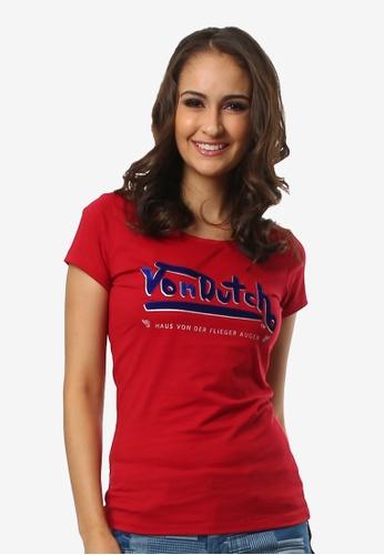 Von Dutch red Ladies Graphic R-neck T-shirt 238D6AA13680E5GS_1