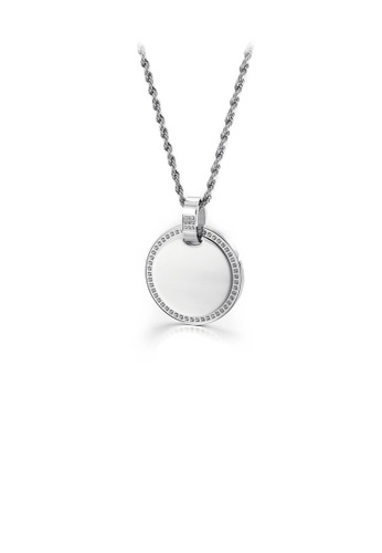 Glamorousky white Simple and Fashion Geometric Round 316L Stainless Steel Pendant with Cubic Zirconia and Necklace E08EBAC7C67B9DGS_1
