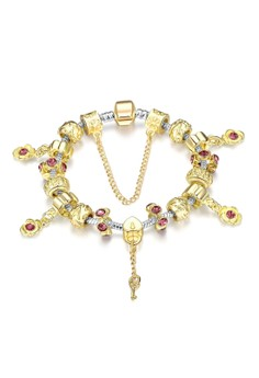 Treasure by B&D H025 Noble Plated Beads Zircon Inlay Tassel Bracelet