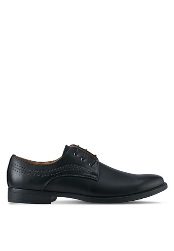 UniqTee black Dress Shoes With Perforated Detail UN097SH0SYSFMY_1