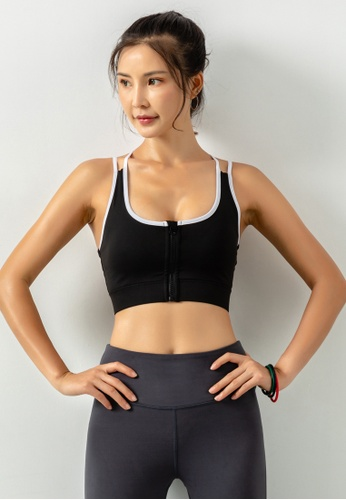 HAPPY FRIDAYS Women's Cropped Zipper Sports Bra DK-WX17 0BD7CAA8B56307GS_1