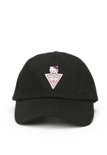 Guess black Guess x Hello Kitty Triangle Logo Baseball Cap A3961AC719C787GS_1