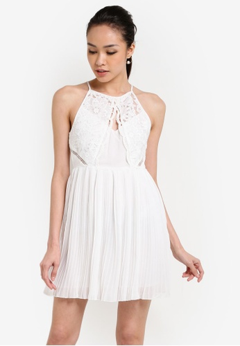 Miss Selfridge white Petite Pleated Skirt Skater Dress MI665AA58UMNMY_1
