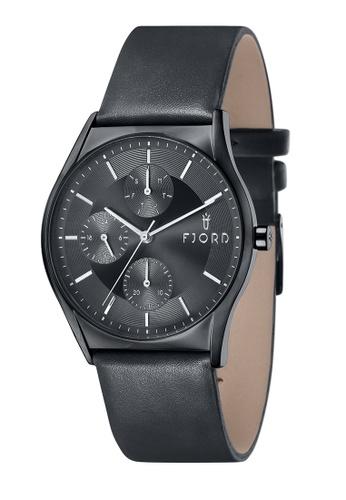 Fjord black Fjord Men's Genuine Leather Watch - FJ-3030-03 45AF3AC158890EGS_1