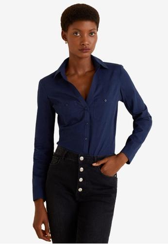 MANGO navy Chest-Pocket Cotton Shirt 1289BAAFD0A6EAGS_1