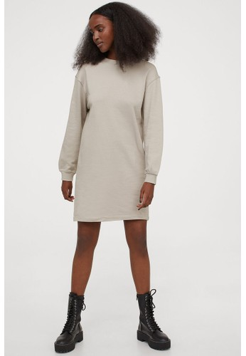 H&M beige Short sweatshirt dress 27C3CAA0FC7E29GS_1