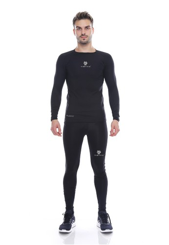 Jual Tiento Tiento Man Baselayer Manset Olahraga Lengan Panjang Long Sleeve Black Silver Dan Celana Legging Sport Compression Pria Long Pants Black Silver 1 Set Original Zalora Indonesia