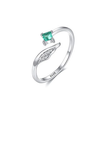 Glamorousky white 925 Sterling Silver Simple and Elegant Angel Wings Adjustable Open Ring with Green Cubic Zirconia 751D4AC2C4ADDBGS_1