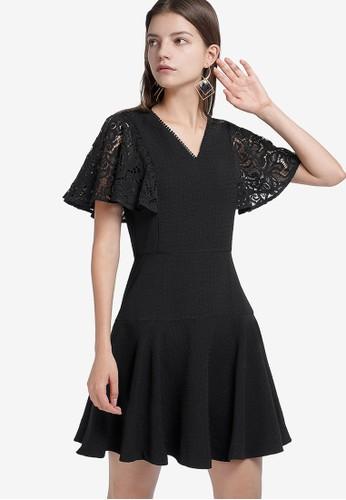 Saturday Club black Lace-Trimmed Dress With Flouncy Hem B14BBAA6DB4D46GS_1