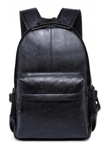 Lara black Plain Zipper Backpack E24F0AC7132285GS_1