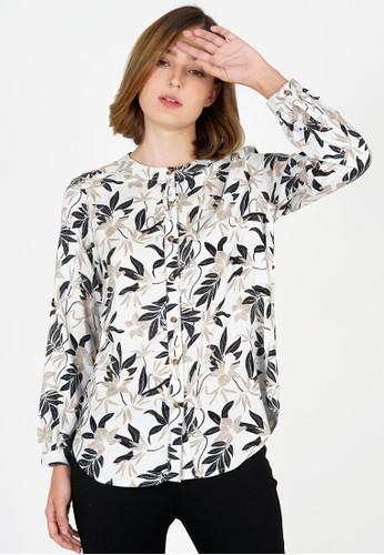 Le'Rosetz multi Round Neck Rayon Foliage Shirt 239B6AABF9F67FGS_1