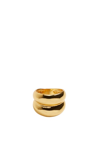Mango gold Embossed Big Ring FC877AC214E8A6GS_1