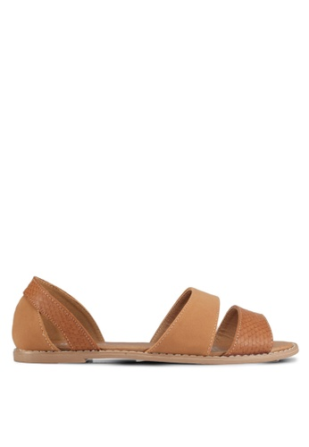 Rubi brown Luna Peep Toe Flats 7E64FSH0533507GS_1