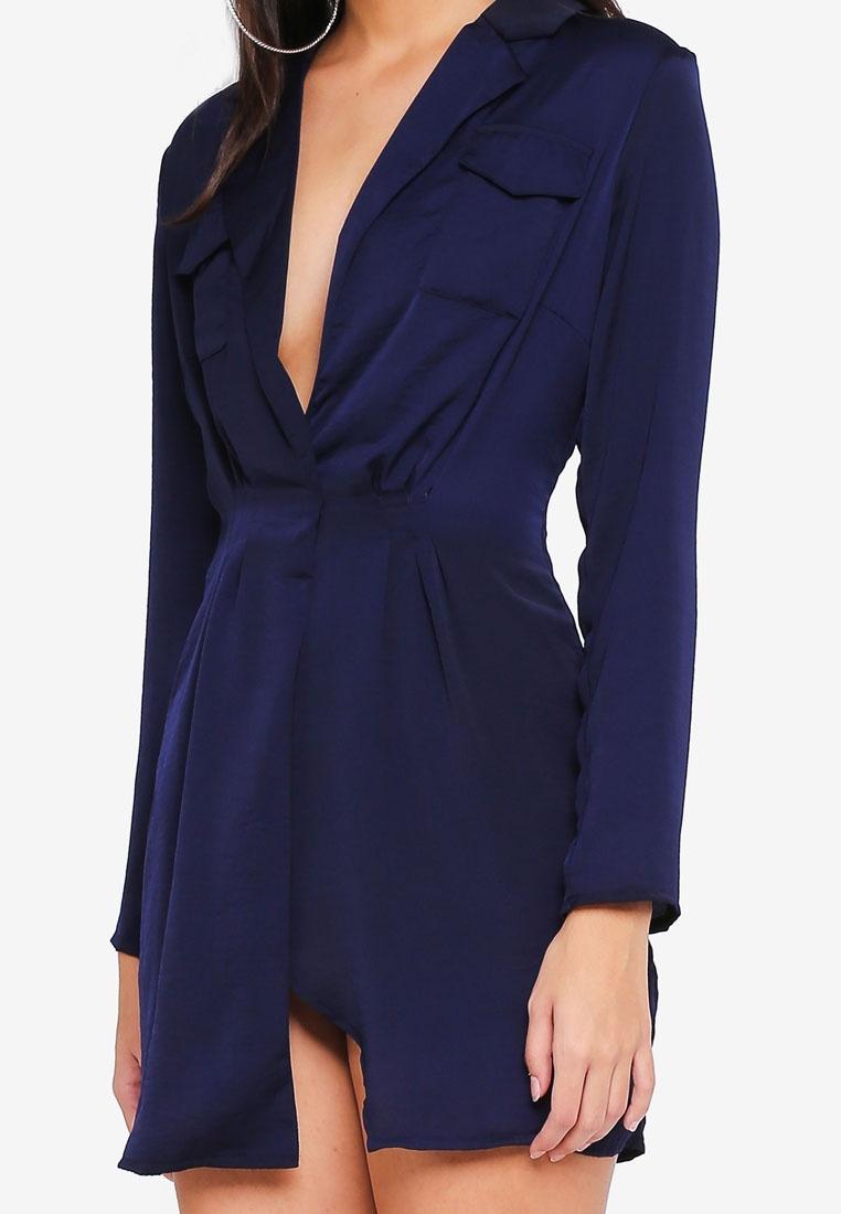 MISSGUIDED Pocket Dress Shift Satin Collar Detail Navy wTxFRIX