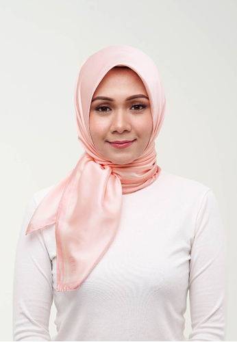 Elle pink Signature Square Scarf - Crystal Pink F704CAA2E4D2EBGS_1
