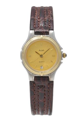 Alba brown ALBA Jam Tangan Wanita - Brown Gold Silver - Leather Strap - AXT54E 37824AC94BADDBGS_1