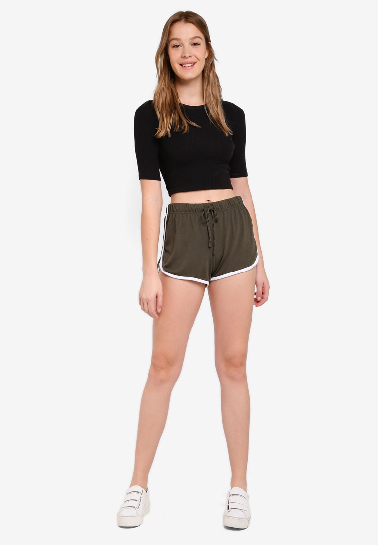 Retro Army Green On Contrast Cotton Bind Shorts XYTAXSn