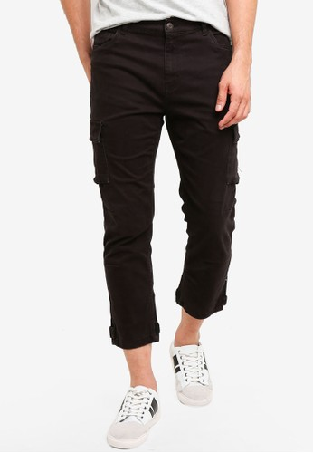 OVS black Loose-Fit Crop Cargo Pants 1A601AADA49623GS_1