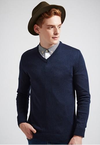 簡約經典。氣質色調。V領針織衫-MIT-03623esprit hk store-丈青, 服飾, 外套