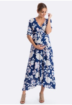 841a0672f91f5 Maive & Bo Harlow Maternity Dress in Bright Navy Floral S$ 72.00. Sizes S L  XL