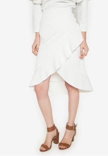 Hug white Asymmetric Ruffled Skirt HU902AA0JJ6RPH_1