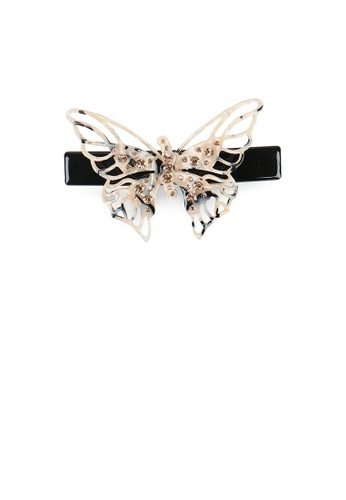 Glamorousky gold Fashion and Elegant Hollow Butterfly Hair Slide with Champagne Cubic Zirconia 7984EAC8D31D43GS_1