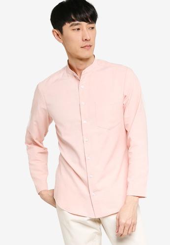 ZALORA BASICS pink Skinny Fit Mandarin Collar Shirt 79BAFAA81E5129GS_1