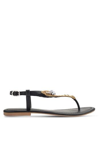 ZALORA black Flat Sandals 3A31ESH01F9DDAGS_1