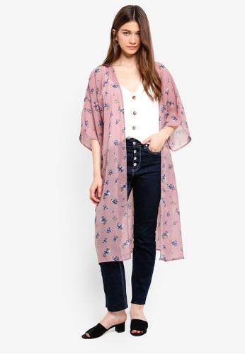 Something Borrowed pink Printed Kimono Cardigan 895A3AAB6A89BFGS_1