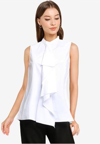 ZALORA WORK white Draped Shirt 94DA5AAAC606F8GS_1