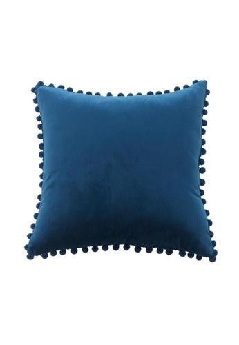 DILAS HOME Pom Pom Velvet Cushion Cover (Navy blue) 76555HL4CDA2D6GS_1