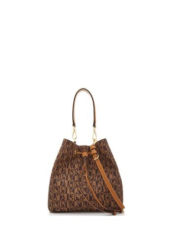 BONIA brown Choccy Claire Monogram Bucket Bag II 1FB30ACFA4F9A3GS_1