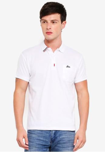 Fidelio white Taped Collar Polo Shirt AC819AA9B21A3DGS_1