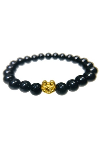 LITZ black and gold [SPECIAL] LITZ 999 (24K) Gold Fortune Lock Charm with free Black Agate Bracelet 37236AC8D9FCC5GS_1