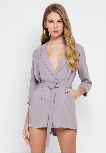 MISSGUIDED 灰色 交叉西裝外套連身短褲 35B5AAA0230C60GS_1