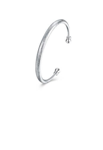 Glamorousky silver Fashion Simple Textured Geometric Round Open Bangle AC043AC2513497GS_1