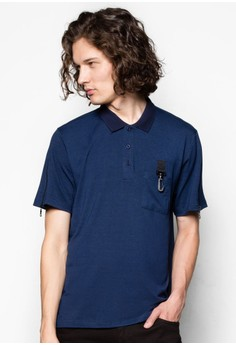Zipper Mesh Sleeve Polo