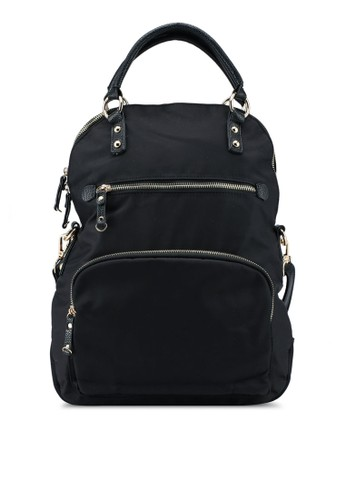 NUVEAU black PU-Trimmed Nylon 3-Way Usage Backpack With Top Handle 0FCD4AC57388BEGS_1
