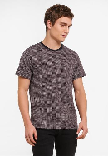 Burton Menswear London red Berry And Navy Pattern Jacquard T-Shirt BU964AA0S9QJMY_1