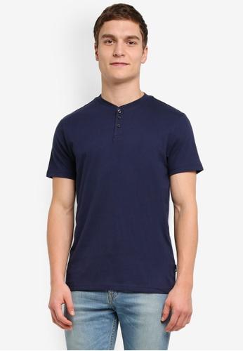 Burton Menswear London navy Short Sleeve Navy Grandad T-Shirt BU964AA0SILVMY_1