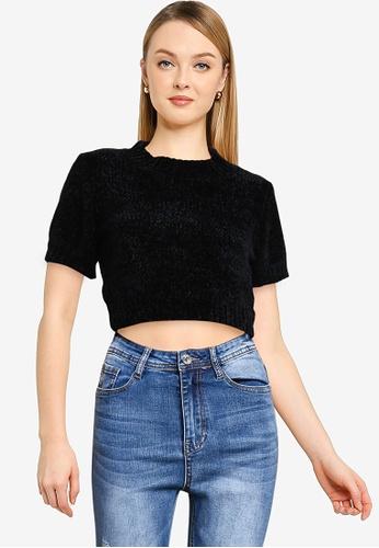 MISSGUIDED 黑色 Petite Chenille T 襯衫 3B44FAA0347465GS_1