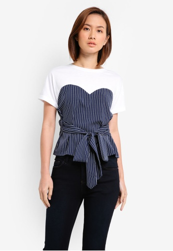 ZALORA white and multi and navy Mixed Fabric T-Shirt With Tie 6EF03AAB52AD8BGS_1