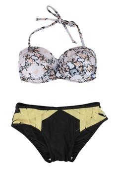 Multicolor Floral Bikini Top And Strappy Bottom Two Piece Swimwear