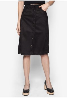 Suedette Button Down A-line Midi Skirt
