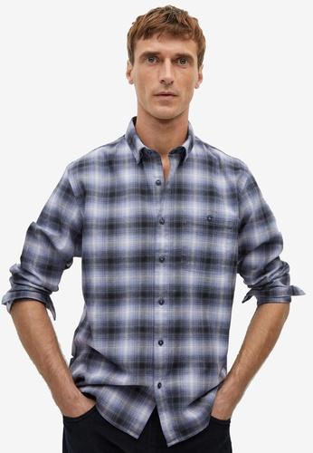 Mango Man blue Regular Fit Check Cotton Shirt FB173AAABE8C66GS_1