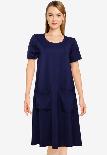 UniqTee navy Premium A Line Dress with Pockets F02DCAA8870665GS_1