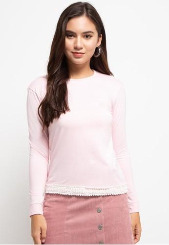 LOLINI pink Egypt Long Sleeve Knit 8988BAAE347E47GS_1