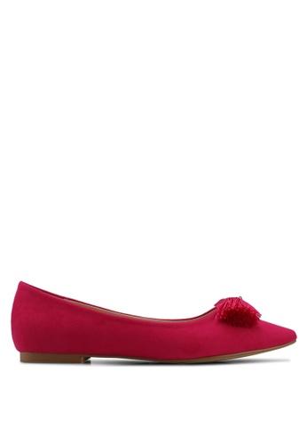 Velvet pink Bow Detail Ballerinas 0EEBBSH9F9A82CGS_1