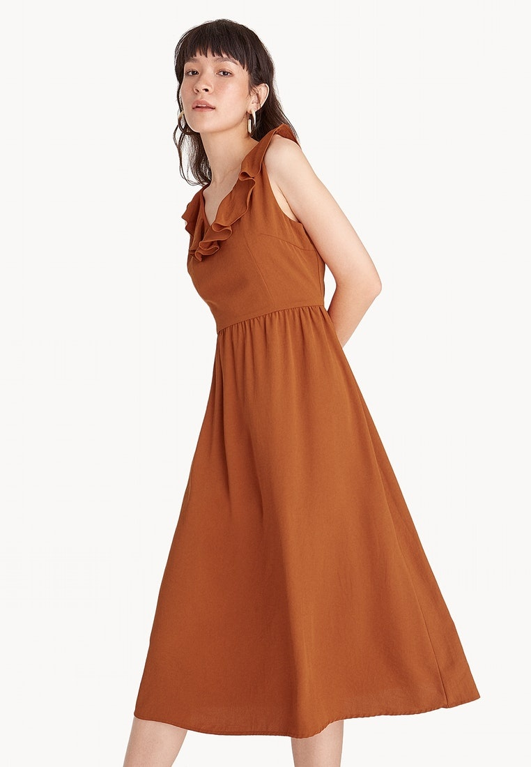 Dress Brown Brown Strappy Midi Back Pomelo Ruffled qfYaO6cBwt